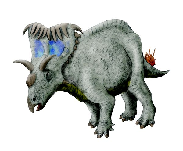 The many-horned Kosmoceratops was a plant-eater, a member of the same group including <i>Triceratops</i>. Image by Nobu Tamura, CC-BY-SA 3.0.